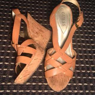 Guess leather wedges