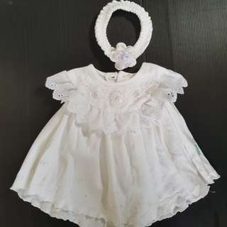 Dress Newborn BANANA Warna Putih