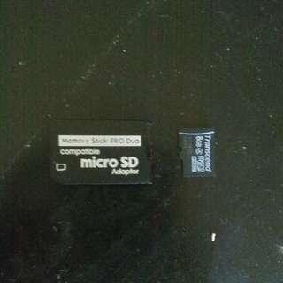 8GB MicroSD Memory Card + PSP MicroSD Adaptor