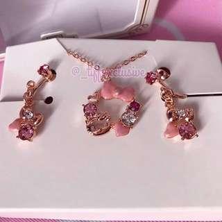 Hello Kitty x Universal Studios Japan Rose Gold Necklace Earrings Set