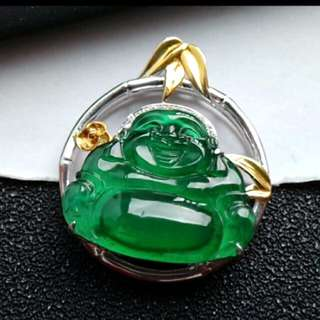 🏵️18K White Gold - Grade A Icy Full Green Laughing/Wealth Buddha Jadeite Jade Pendant🏵️