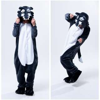 Grey Wolf Onesie Costume: For height of 165 cm - 175 cm (Comes with Wolf feet shoes!)
