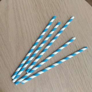 Brand New Blue Striped Straws (20pcs) - incl registered mail