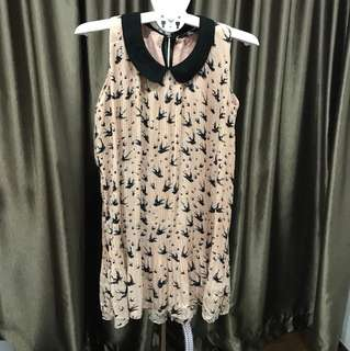 Celestyne Pink sleeveless shift dress with Peter Pan collar and black sparrow print