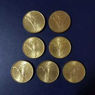 🇲🇾 *UNC* 1992/93 Malaysia RM1 Copper Nickel Coin~A Lot Of 7pcs