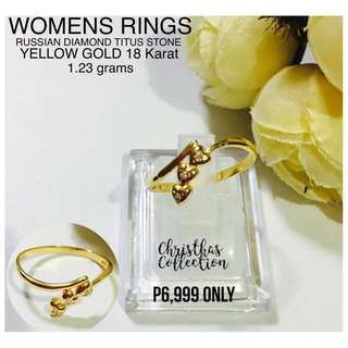 Saudi Gold 14k Authentic Womens Rings Diamonds Titus Stones Pawnable