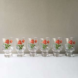 (RESERVED) 6pc Vintage Pyrex June Rose Footed Drinking Glasses