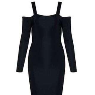 H&M Black open shoulder bandage dress