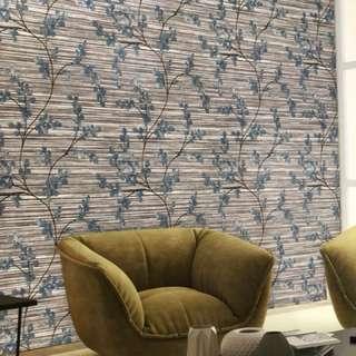 Wallpaper dinding korea floral design 15 mtr