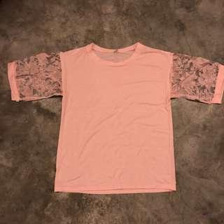 Plus Size Ladies Pink Cotton Tee Top