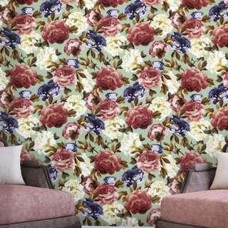 Wallpaper dinding motif bunga bunga floral