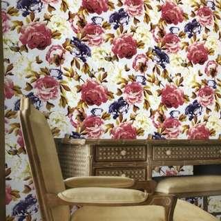 Wallpaper dinding korea motif bunga floral