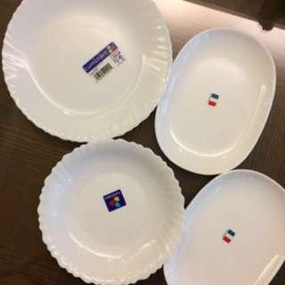 🚚 [媲美康寧]超質感雪白瓷盤💕四個一組