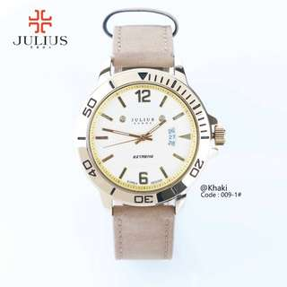 Men's Analog Quartz New JULIUS Extreme JA- 009-1#p  Original Watch Diameter : 4,2cm Ready 2 colours : - Coffee - Khaki Specifications : - Stainless Steel Case - Leather Strap - Date active - Warranty card Top Luxury Brand Free box Julius Warranty