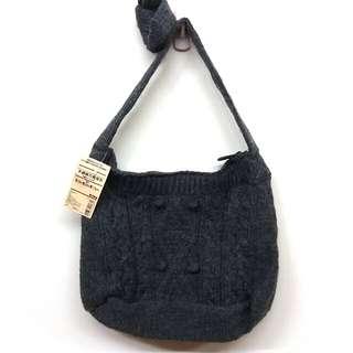 手織麻花肩背包(無印良品)
