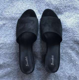 Bardot Black Suede Mules
