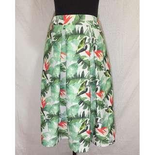 Printed Midi Pleated Skirt
