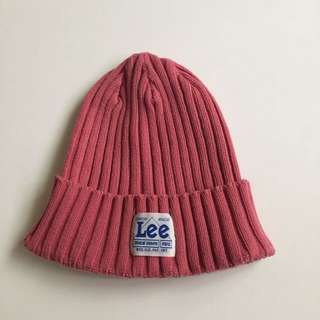 日本製 Lee 毛帽 雪帽 滑雪 保暖 復古 古著 粉紅 桃紅 90s 聯名 Beams