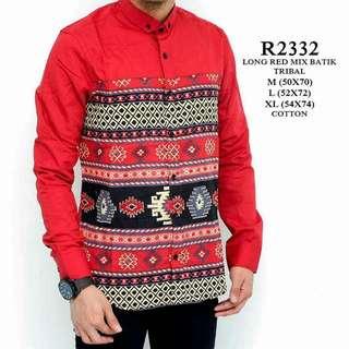 Long red mix batik tribal