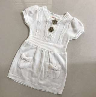 White knitted dress for baby girls