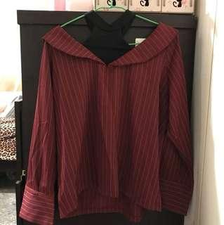 微性感磚紅條紋襯衫