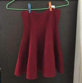 酒紅針織彈性太空裙