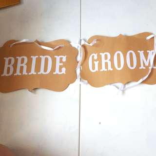 Bride and Groom Wedding Signages for Chair with Ribbon