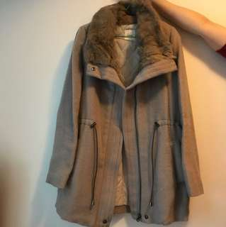 Korean Style fake fur tied coat