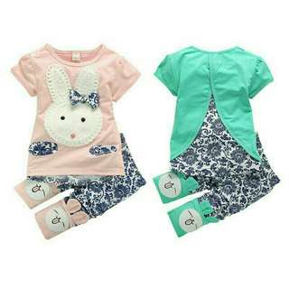 Baby Girls  kids cute rabbit casual short sleeve