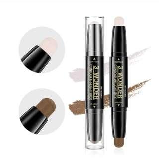 3-WonderFace Makeup Concealer Pen Multi effect Double Head 3D Bronzer Highlighter Stick Texture Contour Pencil Foundation