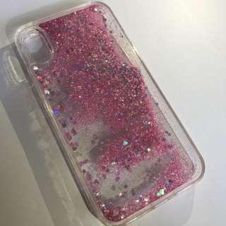 包郵 iPhone X 流沙電話殻 粉紅色
