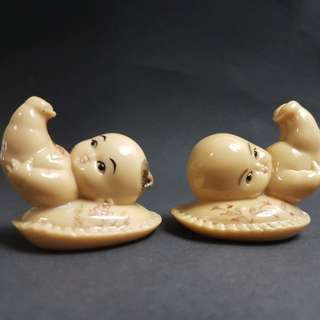 cute antique figurines - boy and girl