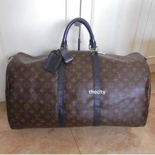 AUTHENTIC LOUIS VUITTON KEEPALL 55 IN MONOGRAM MACASSAR - RECOLORED LEATHER TRIMS
