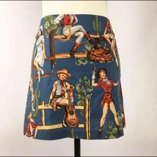 Cowgirl Retro Vintage Style Mini Skirt