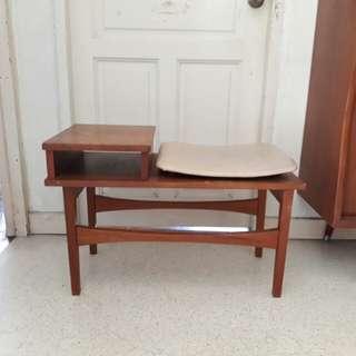 vintage mid century danish telephone seat or shoe seat w table