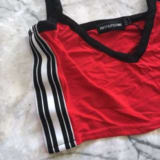 Red sporty striped crop 6-8