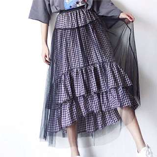 黑白細格紋 不規則內裡 微澎紗裙 彈性腰圍