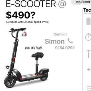 E-scooter with max speed 25kmh
