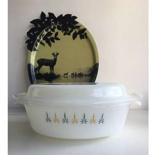 Vintage Fire King Oval Casserole in the Candlelight design, complete with milk glass cover
