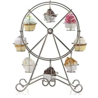 8 Cup Metal Rotating Ferris Wheel Cupcake Stand (SIlver)