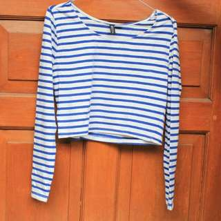 H&M Striped Cropped-tee