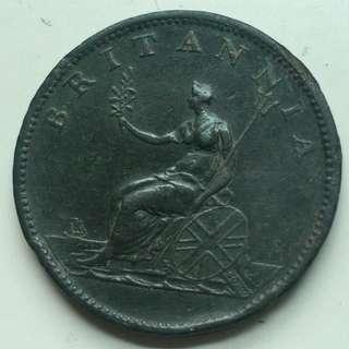 XF品相 1807年 英國 UK Half Penny