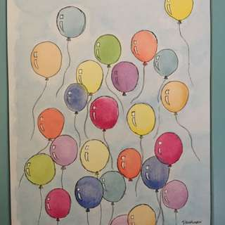 Balloons - watercolour painting