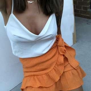 〰️ Stelly - orange wrap skirt