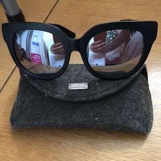 HACHill HK黑框銀色水銀太陽眼鏡