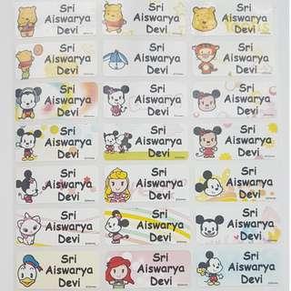 Baby Disney Children Name Sticker Labels