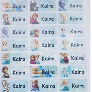 Frozen Children Name Sticker Labels