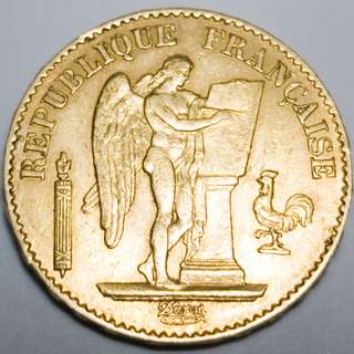 1877 A 20 Francs Angel Writing Gold Coin