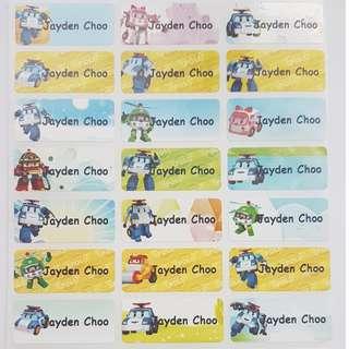 Robocar Poli Children Name Sticker Labels