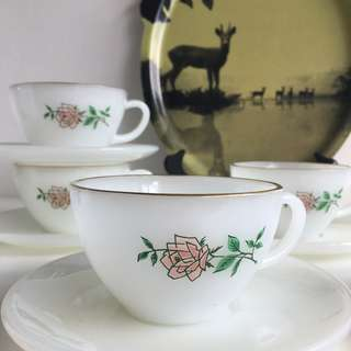 """Set of 6 Fire King """"Anniversary Rose"""" Milk Glass Cups and Saucers"""